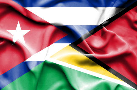 cuban flag: Waving flag of Guyana and Cuba Stock Photo