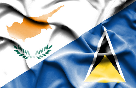 st lucia: Waving flag of St Lucia and Cyprus
