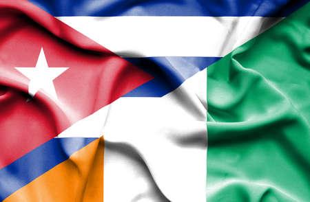 coast: Waving flag of Ivory Coast and Cuba