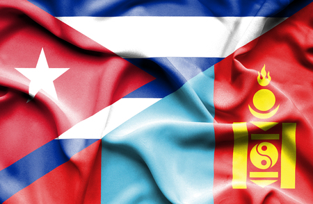 cuban flag: Waving flag of Mongolia and Cuba Stock Photo