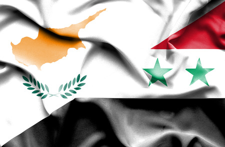 syria peace: Waving flag of Syria and Cyprus Stock Photo
