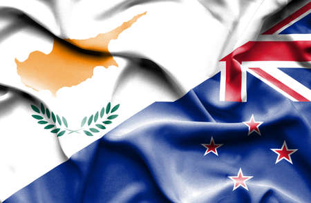 bandera de nueva zelanda: Waving flag of New Zealand and Cyprus Foto de archivo