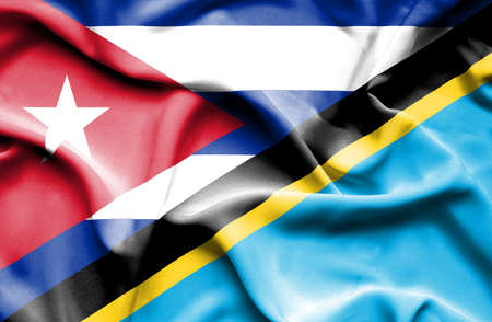 tanzania: Waving flag of Tanzania and Cuba