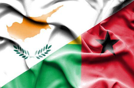 guinea bissau: Waving flag of Guinea Bissau and Cyprus
