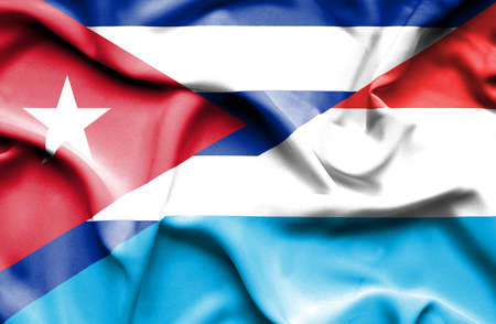cuban flag: Waving flag of Luxembourg and Cuba