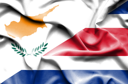 cyprus: Waving flag of Costa Rica and Cyprus Stock Photo