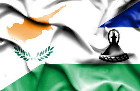 lesotho: Waving flag of Lesotho and Cyprus Stock Photo