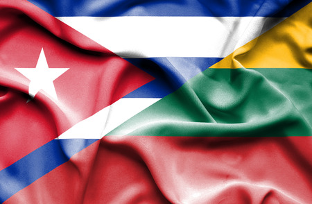 cuban flag: Waving flag of Lithuania and Cuba