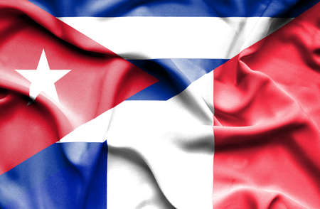 cuban flag: Waving flag of France and Cuba