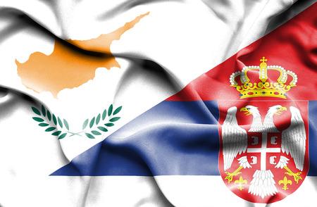 serbia: Waving flag of Serbia and Cyprus