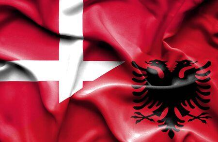 albania: Waving flag of Albania and Denmark