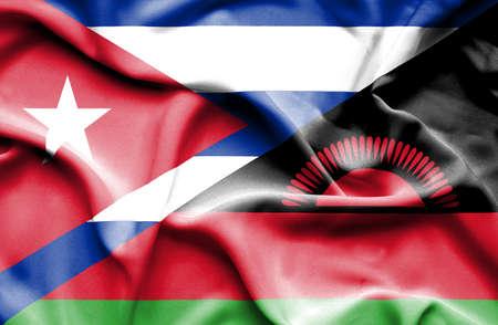 malawian flag: Waving flag of Malawi and Cuba