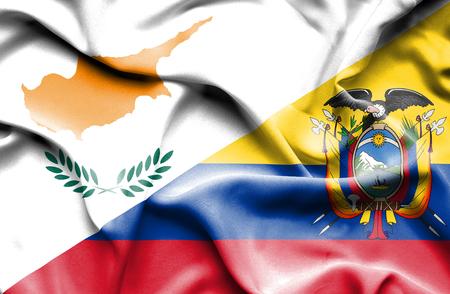 ecuador: Waving flag of Ecuador and Cyprus