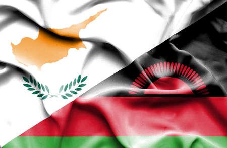 malawian flag: Waving flag of Malawi and Cyprus