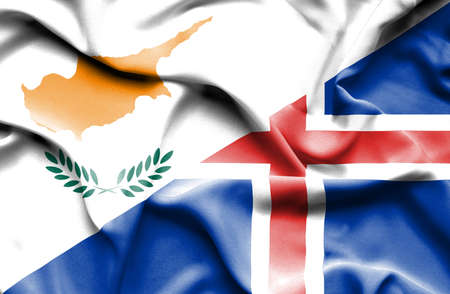 iceland: Waving flag of Iceland and Cyprus Stock Photo