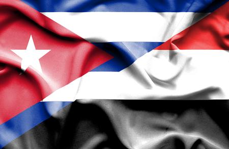 yemen: Waving flag of Yemen and Cuba