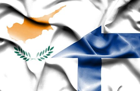 cyprus: Waving flag of Finland and Cyprus Stock Photo