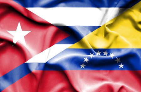 cuban flag: Waving flag of Venezuela and Cuba Stock Photo