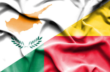 benin: Waving flag of Benin and Cyprus