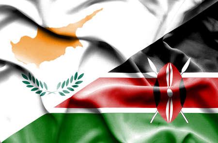 kenya: Waving flag of Kenya and Cyprus
