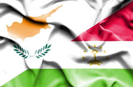 tajikistan: Waving flag of Tajikistan and Cyprus