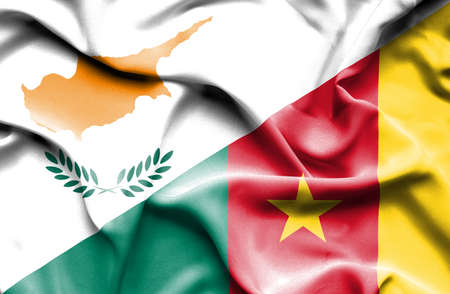 cameroonian: Waving flag of Cameroon and Cyprus Stock Photo