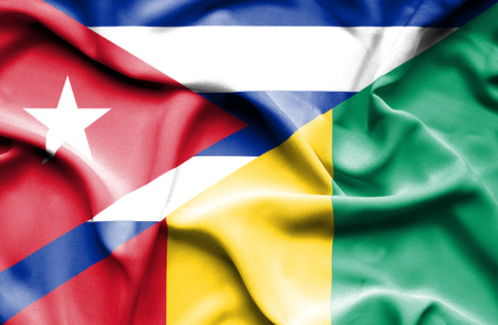 cuban flag: Waving flag of Guinea and Cuba