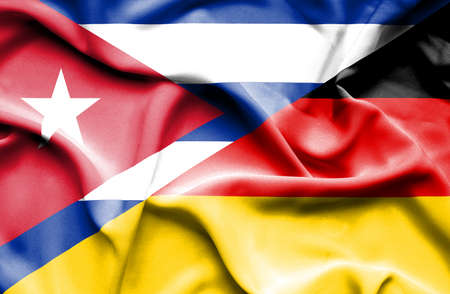 cuban flag: Waving flag of Germany and Cuba