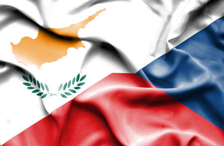 the czech republic: Waving flag of Czech Republic and Cyprus Stock Photo