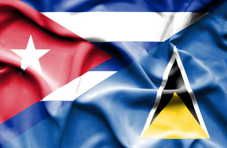 st lucia: Waving flag of St Lucia and Cuba