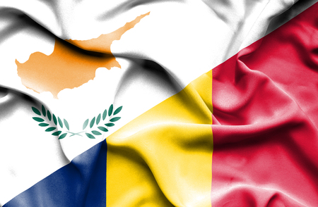 chad: Waving flag of Chad and Cyprus Stock Photo