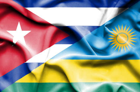 cuban flag: Waving flag of Rwanda and Cuba