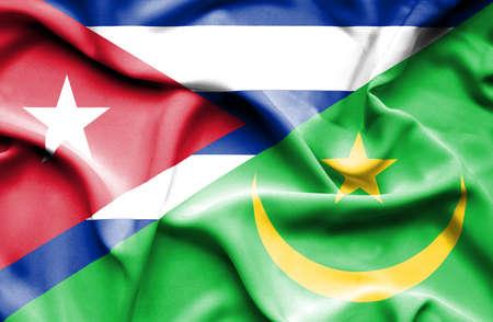 flag of cuba: Waving flag of Mauritania and Cuba
