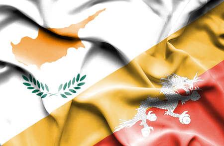 bhutan: Waving flag of Bhutan and Cyprus Stock Photo