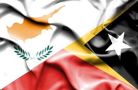 east: Waving flag of East Timor and Cyprus