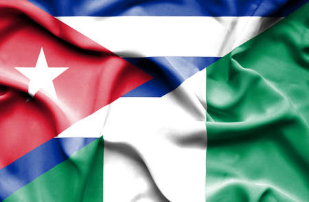 nigeria: Waving flag of Nigeria and Cuba