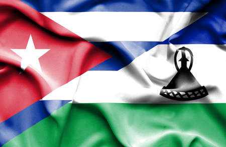 cuban flag: Waving flag of Lesotho and Cuba