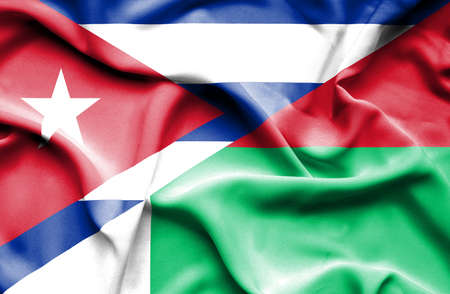 cuban flag: Waving flag of Madagascar and Cuba