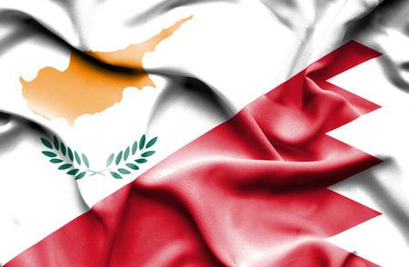 bahrain money: Waving flag of Bahrain and Cyprus
