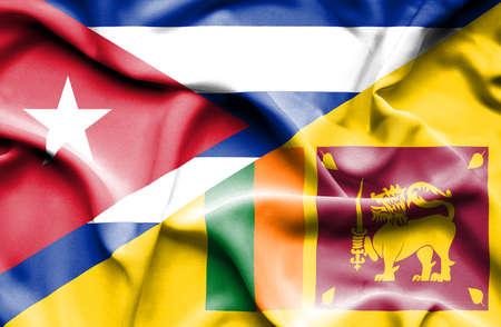 sri lanka: Waving flag of Sri Lanka and Cuba