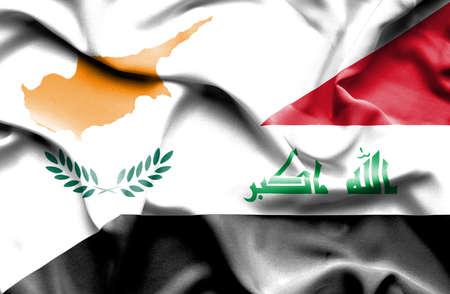 iraq war: Waving flag of Iraq and Cyprus Stock Photo
