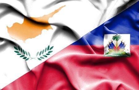 haiti: Waving flag of Haiti and Cyprus