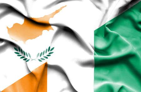 coast: Waving flag of Ivory Coast and Cyprus