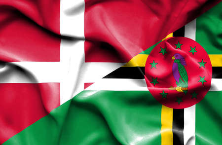 dominica: Waving flag of Dominica and Denmark