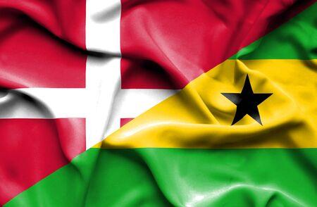 tome: Waving flag of Sao Tome and Principe and Denmark
