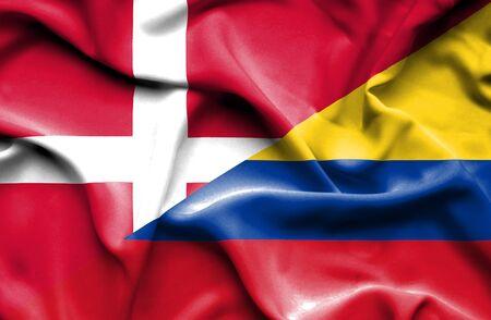 columbia: Waving flag of Columbia and Denmark