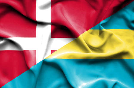 bahamas: Waving flag of Bahamas and Denmark