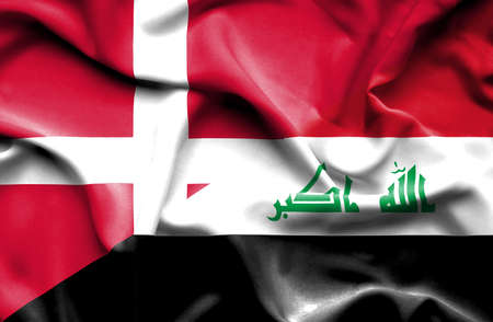 iraq conflict: Waving flag of Iraq and Denmark