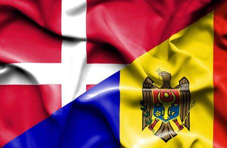 moldavia: Waving flag of Moldavia and Denmark
