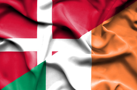 irish history: Waving flag of Ireland and Denmark